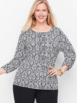 Knit Jersey Tile Print Top