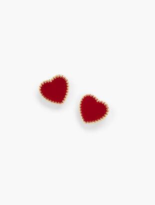 Gold Trim Heart Earrings