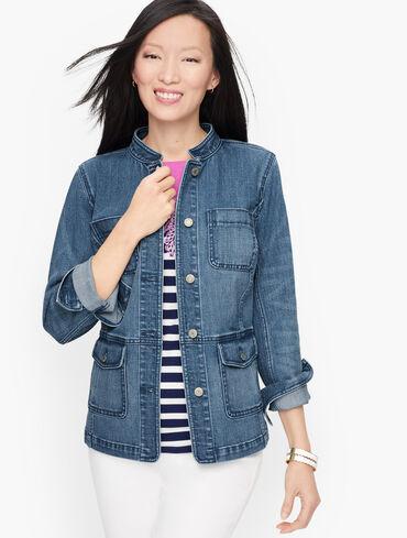 Ladies Talbots Denim Jacket Size 4P