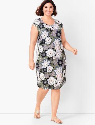 Tropical Floral Open-Back Dress