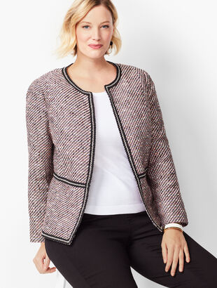 Grosgrain-Trim Tweed Jacket