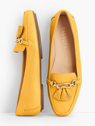 Becca Tassel Driving Moccasins - Pebbled Leather