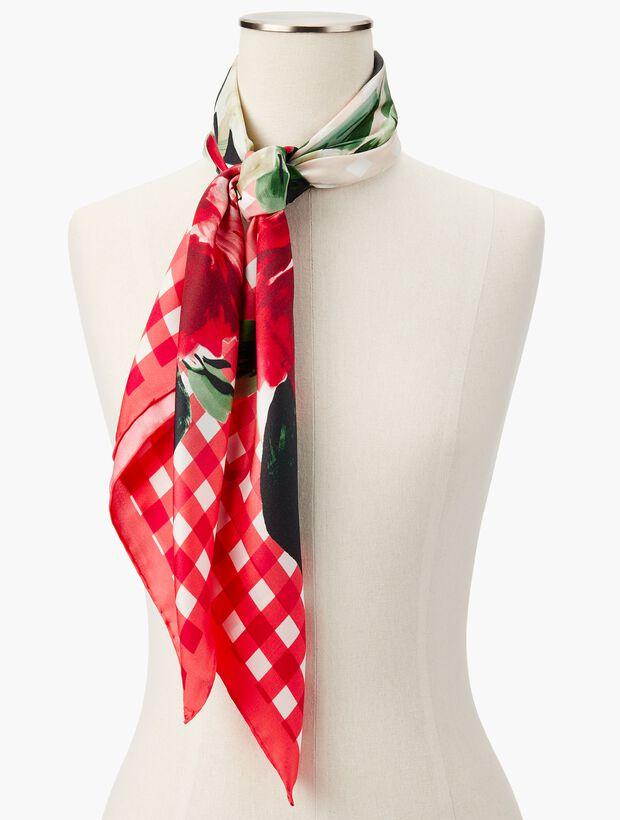 Gingham & Floral Silk Scarf