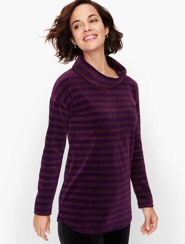 Luxe Velour Cowlneck Candy Cane Stripe Pullover