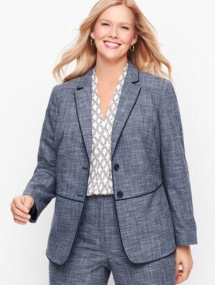Lightweight Tweed Peplum Blazer