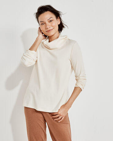 Organic Cotton Interlock Cowl Neck Top