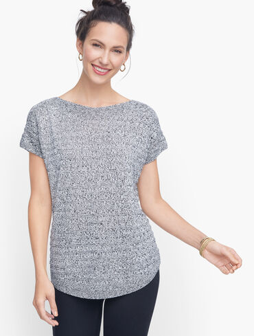 Chunky Knit Linen Sweater- Marled