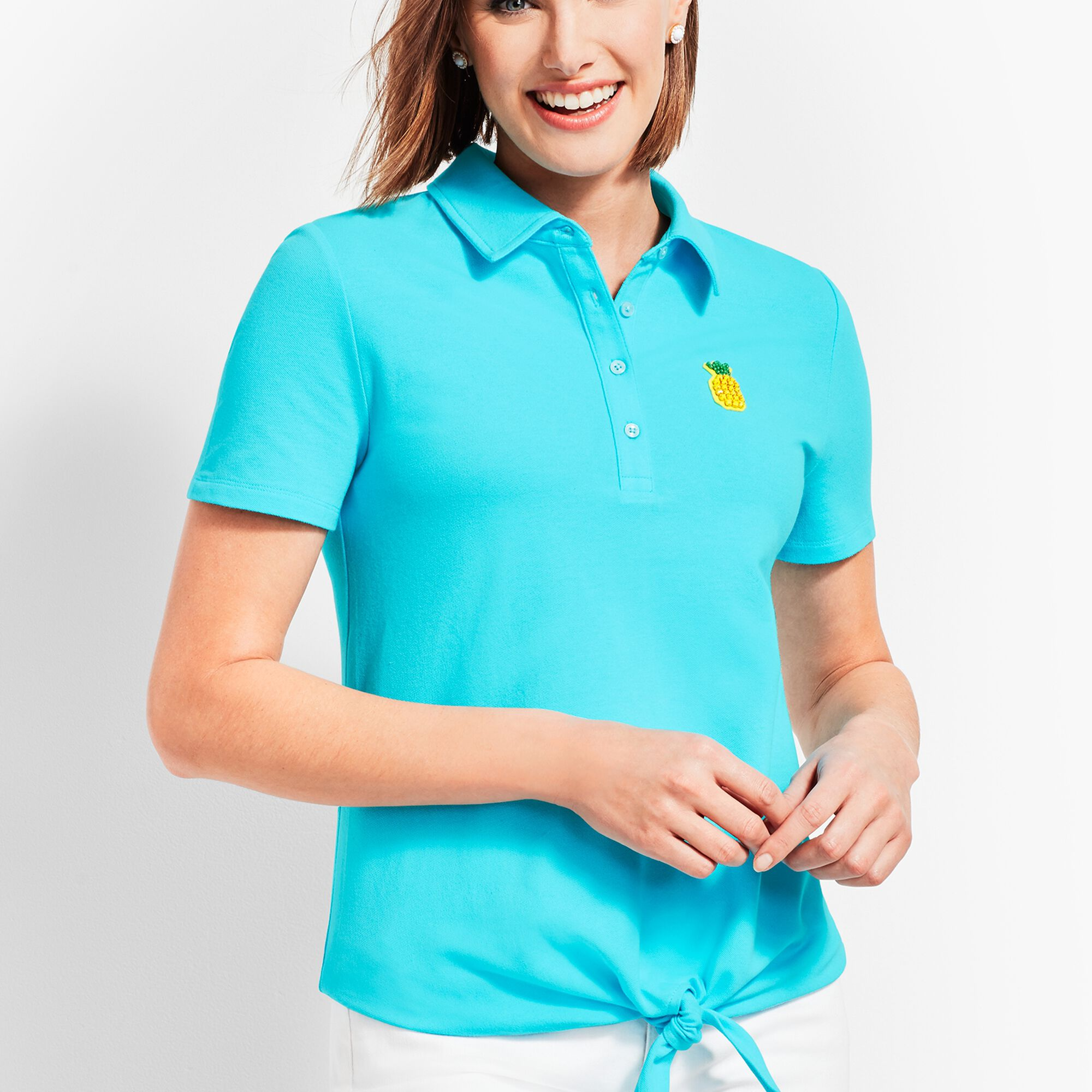 a3dd6027 Tie Front Polo Shirt Opens a New Window.