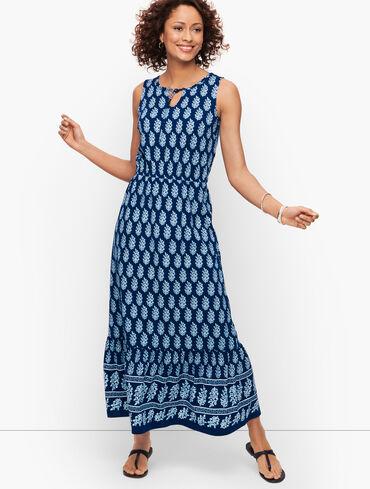 Jersey Maxi Dress - Allover Tree Block Print