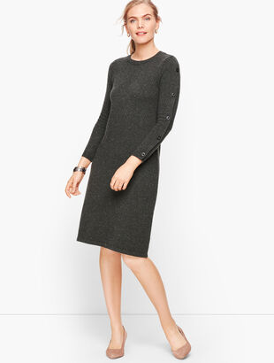Tweed Button Sleeve Sweater Dress