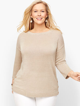 Linen Side Button Sweater