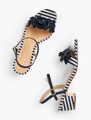 Meghan Flower Sandals - Corded Stripe