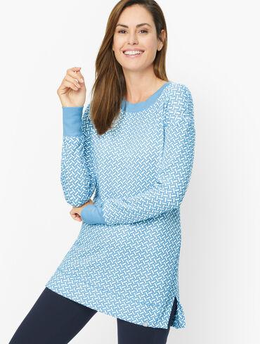 Drop Shoulder Rib Trim Pullover  - Zig Zag Geo