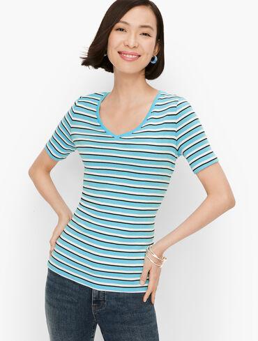 Cotton V-Neck Tee - Merida Stripe