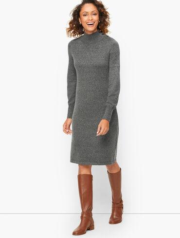 Tweed Mockneck Sweater Dress