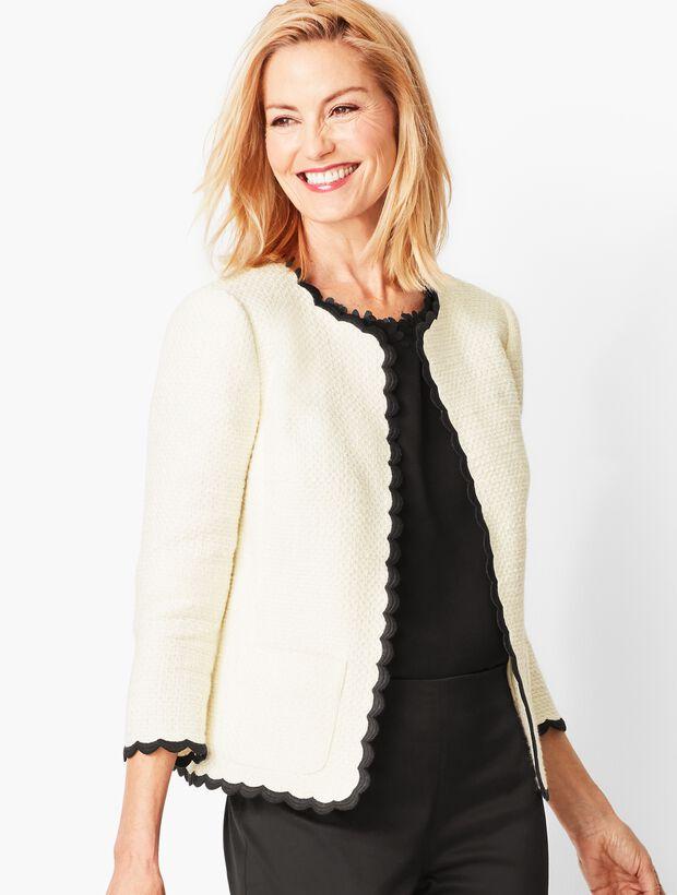 Cotton Tweed Scallop-Edge Jacket
