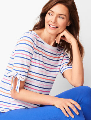 Colorful Stripe Tie-Sleeve Top