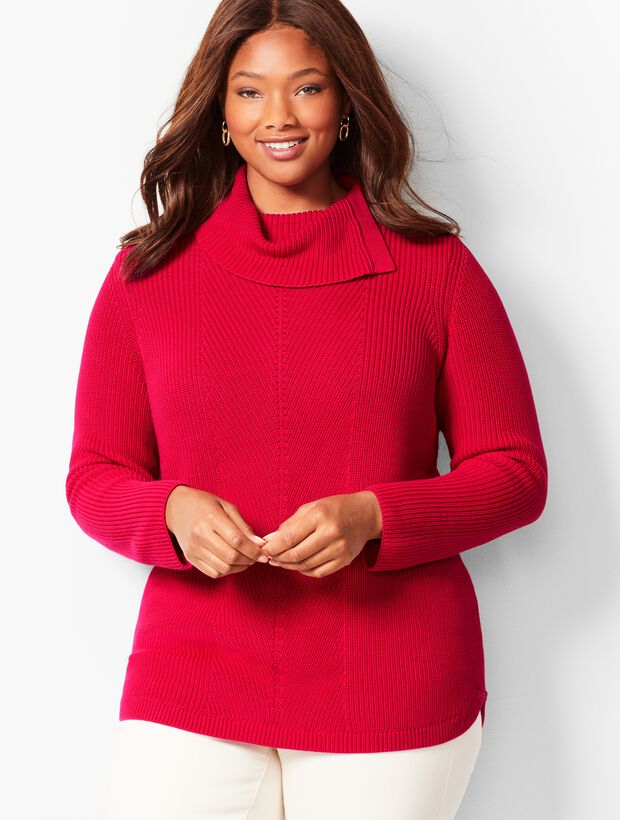 Shaker-Stitch Cowlneck Sweater