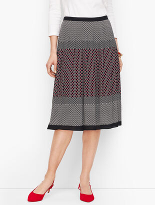 Geo Print Pleated Full Skirt