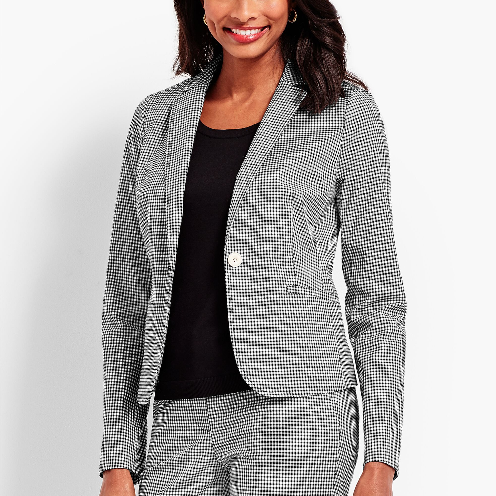 3c65c3913f1c3 One-Button Jacket - Gingham Opens a New Window.