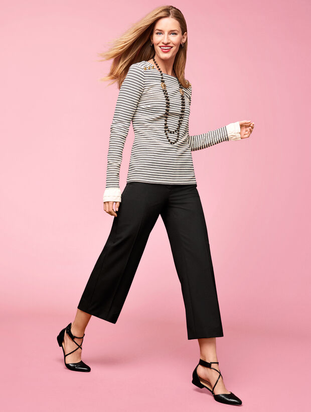 Long-Sleeve Stripe Boatneck