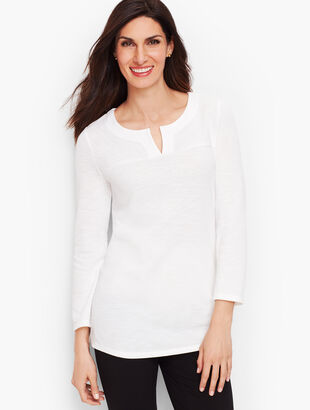 Textured Split-Neck Top - Solid