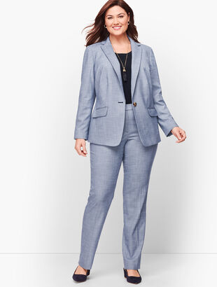 Sharkskin Single Button Blazer