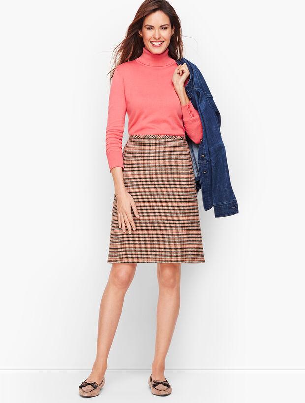 Plaid Wool A-Line Skirt
