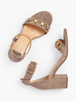 Beatrice Chain  Link Block Heel Sandals - Suede