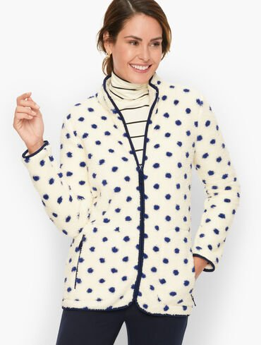 High-Low Cozy Sherpa Jacket - Simple Dot