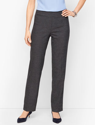 Houndstooth Tweed Straight Leg Pants