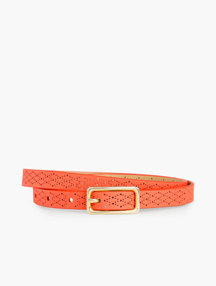 Skinny Perforated Leather Belt