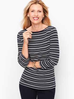 Cotton Bateau Neck Tee - Double Stripe