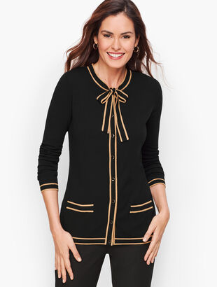 Tipped Bow Cardigan