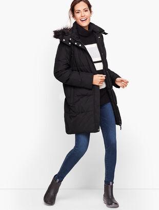 Down Alternative Puffer Coat With Faux Fur Hood