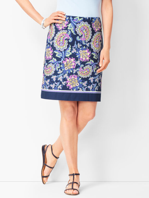 Floral Paisley Canvas A-Line Skirt