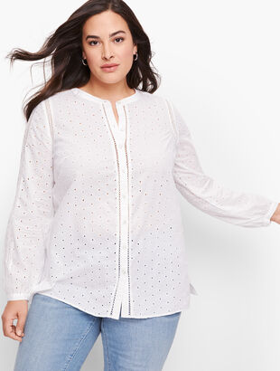 Eyelet Button Front Top