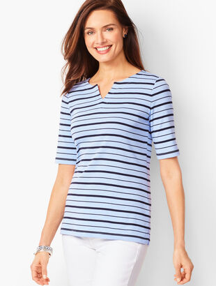 Cotton Split-Neck Tee - Bi-Color Stripe