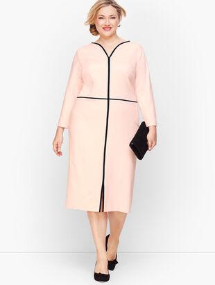 Tipped Ponte Sheath Dress - Scallop Pink