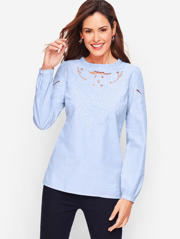 Embroidered Cutout Poplin - End on End