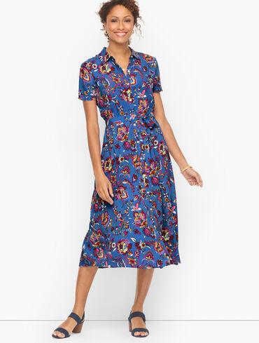 Button Front Tie Waist Shirt Dress