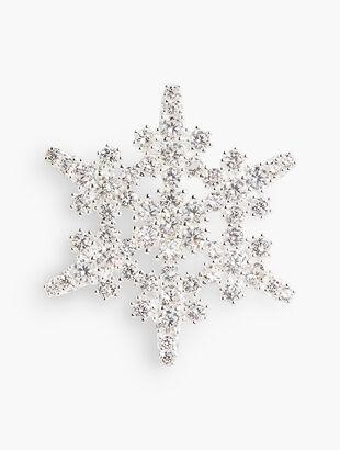 Sterling Silver Crystal Snowflake Brooch