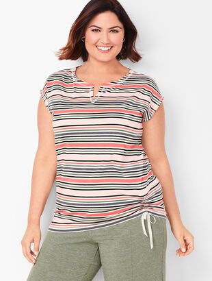 Side-Cinched Tee - Stripe