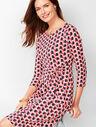 Side-Tie Swirl-Print Sheath Dress