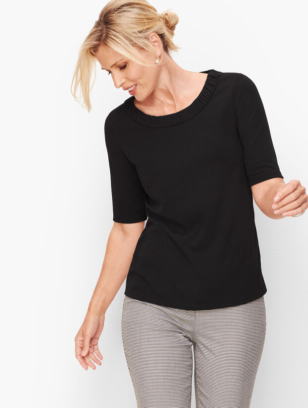 Ruched Neck Crepe Top