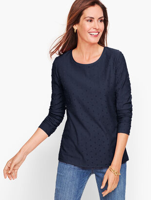 Long Sleeve Crewneck Tee - Textured Dot