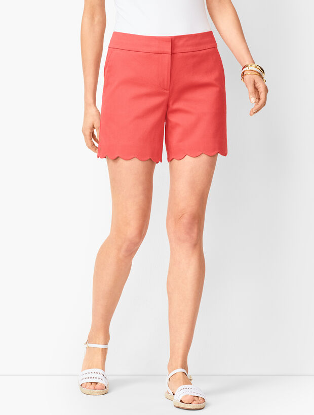 Textured Scallop-Hem Shorts - Honeycomb