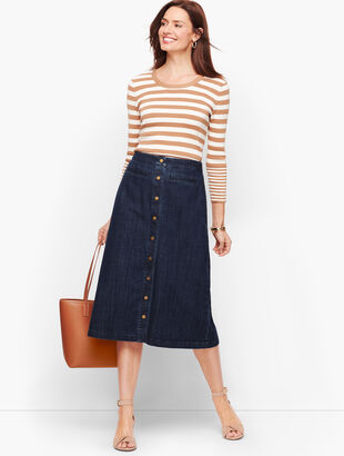 Denim Button Front A-Line Skirt