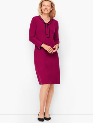 Tipped Tie Neck Sweater Dress