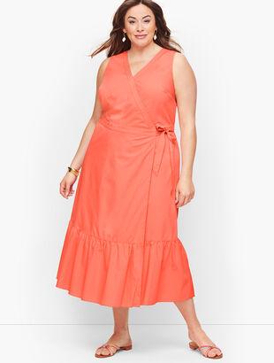 V-Neck Poplin Wrap Dress